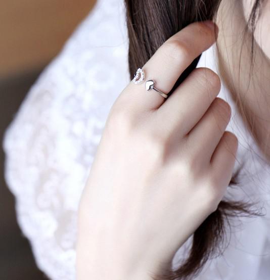Heart Rings 925 Sterling Silver Jewelry Luxurious Austrian Crystal Open Wedding Rings Love Charms Jewlelry For Women