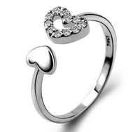 Wholesale open heart silver ring for sale - Group buy Heart Rings Sterling Silver Jewelry Luxurious Austrian Crystal Open Wedding Rings Love Charms Jewlelry For Women