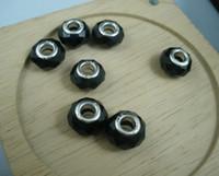 schwarze perlen zum verkauf großhandel-Billig Verkauf 100 Stück europäischen Stil facettierten schwarzen Kristallglas großes Loch Perlen passen Bettelarmband (a0013)