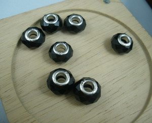 Cheap Sale 100 pcs European Style Faceted Black Crystal Glass Large Hole Beads Fit Charm Bracelet(a0013)