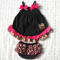 Wholesale Children S Summer Dresses - baby chevron sets girls strapless swing dresses + ruffle lace bloomers shorts kids boutique outfits children summer clothes infant leopard s