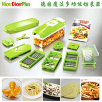 Wholesale Dicer Food Slicer Cutter - 1set lot New Nicer Dicer Plus Vegetables Fruits Dicer Food Slicer Cutter Containers Chopper Peelers Set of 12 kitchen tools