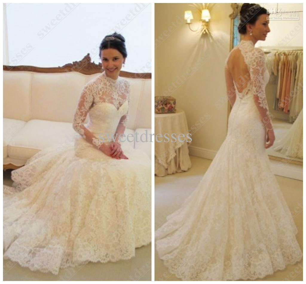 2016 Cheap Backless Mermaid Wedding Dresses High Neck Long Sleeves Lace Bridal Gown Sweep Train Church New Arrival Za01 Beautiful