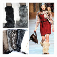 Wholesale Boot Decorations - Fashion Fluffy Furry Women Leg Warmer Boots Shoes Cover Cuff Topper Faux Fur Muffs 40cm