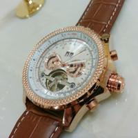 relojes de cara blanca para hombre. al por mayor-Hombres de lujo oro rosa reloj tourbillon cara blanca Inoxidable Moda Suiza Marca Automático Relojes mecánicos Dive barato Mens Sport Reloj