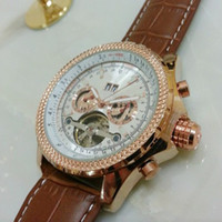 relógios de rosto branco para homens venda por atacado-Homens de luxo subiu relógio turbilhão de ouro branco face Inoxidável Moda Marca Suíça Relógios Mecânicos Automáticos Dive barato Mens Esporte Relógio de Pulso