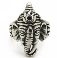 Wholesale God Elephant - Antique India Ganesha Elephant God Holy Men's 316L Stainless Steel Finger Ring Jewelry Gift, Wholesale Price