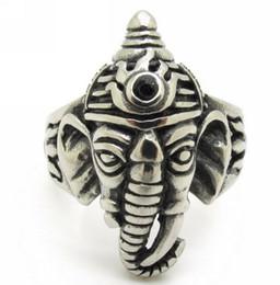 Wholesale God Elephant - Antique India Ganesha Elephant God Holy Men's 316L Stainless Steel Finger Ring Jewelry Gift, Wholesale Price
