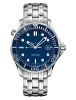 tauchuhr mann automatische blaue zifferblatt großhandel-Luxus Mens Professional James Bond 007 Blue Dial Edelstahl Automatikuhren Schweizer Männer mechanische Uhr Dive Herren Sport Armbanduhren