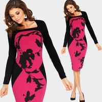 Wholesale Dress Autunm - 2017 Hot Sale New Autunm Spring Women Fashion noble Celeb square collar Long Sleeve Contrast Floral Print Color Stretch Pencil Sheath Dress