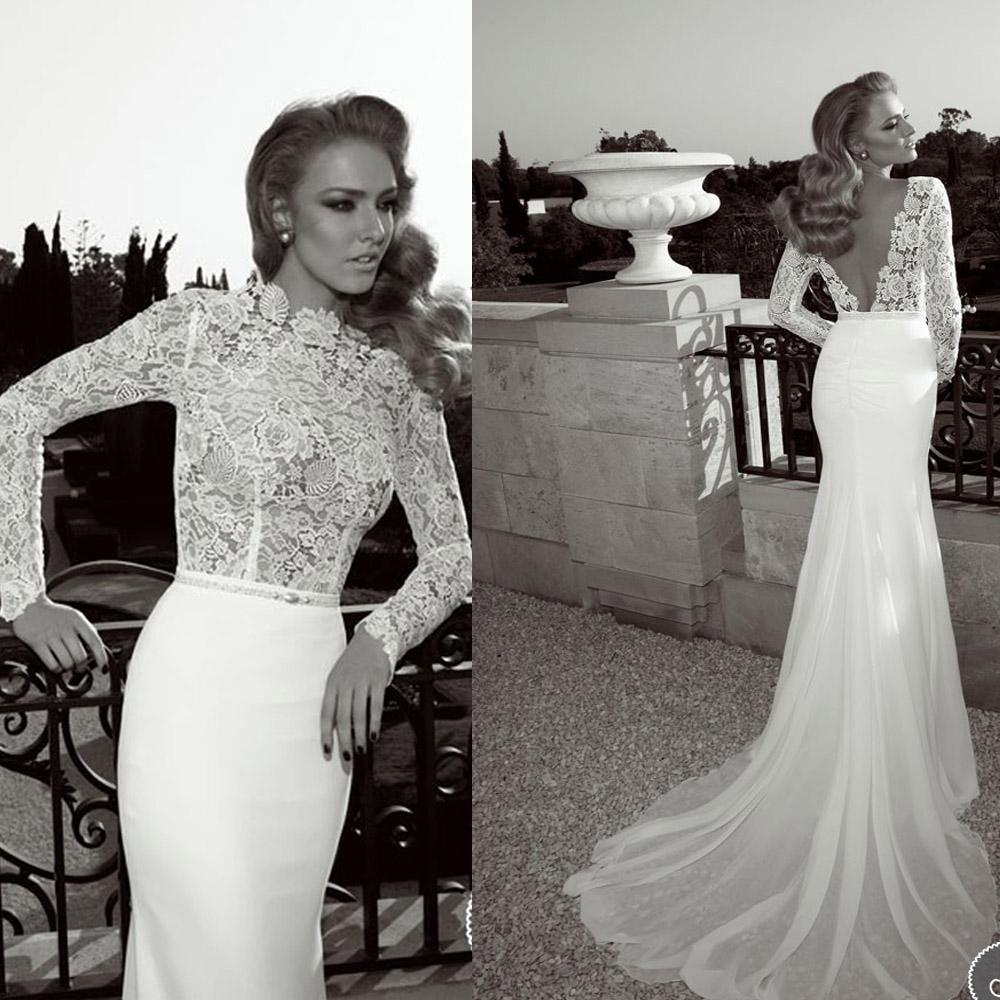 2014 Vintage Lace Bodice High Neck Sheer Wedding Dresses With Long ...