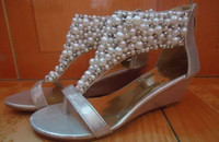 Wholesale Boho Wedges - Boho Sandals Wedges Style Pearl For Women Black Gold Color 2013 New Arrival 1prs Lot Free Shipping 1005S2