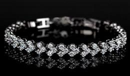 Wholesale Diamonds Czech - HI-Q Jewelry Lady's 925 Silver Plated Czech Diamond Crystal Gemstone Bangle Bracelet Chain 6.3inch Length