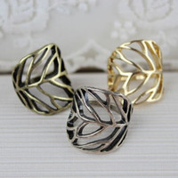 Wholesale Cheap Anniversary Rings For Women - Fashion Gold Wedding Rings For Women Alloy Wedding Band Rings Hollow Leaves Exaggerated Ring Cheap Jewelry 12PCS LOT Free Shipping NR001