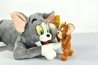 Wholesale Soft Toy Tom - Free shipping cute Tom and Jerry Soft Plush Stuffed Doll Toy 30cm 17cm New children party gift