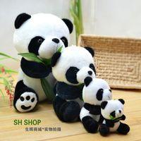 Wholesale Teddy Bear Pendants Wholesale - 4pcs  lot Combination of toys Shining bamboo plush doll toy panda doll pendant birthday gift doll