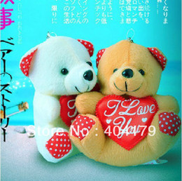Wholesale White Teddy Bears - Promotional gift plush toys valentine gift lover's gift bear with heart toys color assorted 12cm with keychain 20pcs lot