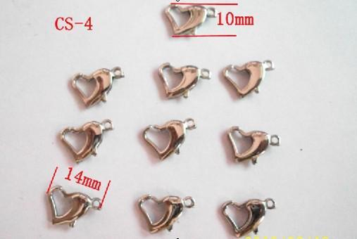 10 * 14mm buena calidad clasphooks langosta corazón de acero inoxidable brillante .jewelry accessories.for collar pulsera DIY