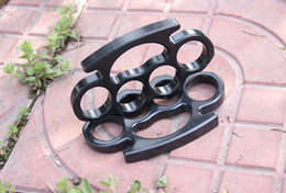 Wholesale Irons Fist - New Factory Price! Fist pure steel buckle thicker version black iron four fingers Free shipping