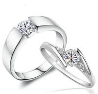 ingrosso donne di stile coreano nozze anelli-Fedi nuziali Swiss Diamond Vintage stile coreano 925 gioielli in argento sterling Luxury Love Charms Jewlelry Anelli per coppia donna uomo