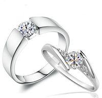 vintage stil hochzeit ringe großhandel-Swiss Diamond Trauringe Vintage Korean Style 925 Sterling Silber Schmuck Luxus Liebeszauber Schmuck Ringe Für Paar Frauen Männer