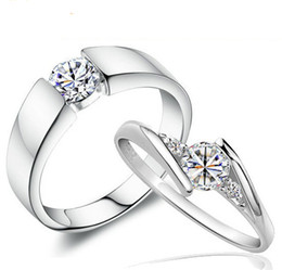 love charms for couples Coupons - Swiss Diamond Wedding Rings Vintage Korean Style 925 Sterling Silver Jewelry Luxury Love Charms Jewlelry Rings For Couple Women Men