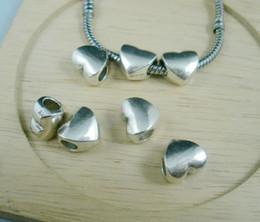 Wholesale Tibetan Love Heart Charms - Cheap Sale 50 pcs Tibetan Silver Smooth Heart Large Hole Beads Fit European Charm Bracelet 11.5 x11mm (a0017)