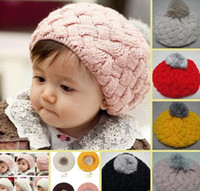 Wholesale toddler ear muffs winter - Wholesale - Baby hats Pom pom pink knit hat girls boys beanie winter toddler kids boy girl faux warm knitted caps knitting cap