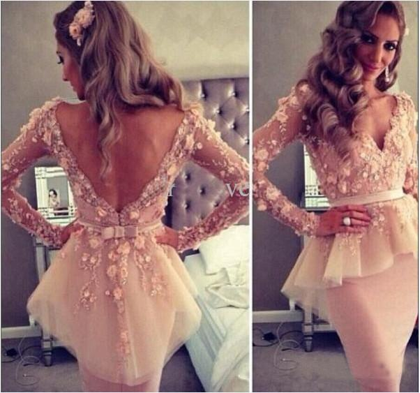 2015 Sexy Sheer V-neck Long Sleeve Organza Sheath Appliques Lace Knee Length Sheath Party Dresses For Women Cheap Cocktail Dresses