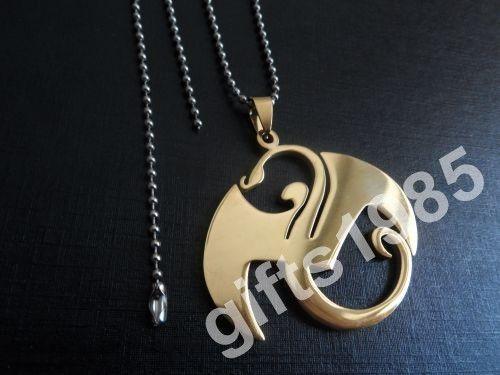 NEUE 2in Gold Musik bezaubert Edelstahl Anhänger Halskette Silber Männer Schmuck