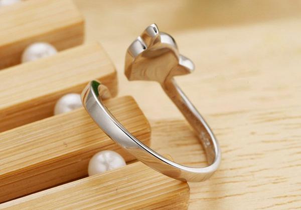 女性のための結婚指輪925スターリングシルバーファイア動物オープンリングホワイトゴールドメッキラブチャームジュエリーファッションボヘミアンスタイル