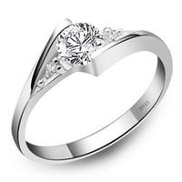 anéis de prata esterlina grátis venda por atacado-925 Anéis De Prata Esterlina New High Qulity Branco Banhado A Ouro 1CT Anéis De Diamante Suíço Para As Mulheres de Luxo Jóias De Casamento Frete grátis