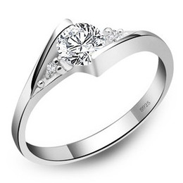 Wholesale Couples Heart Rings - 925 Sterling Silver Rings New High Qulity White Gold Plated 1CT Swiss Diamond Rings For Women Luxury Wedding Jewelry Free shipping