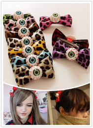 Wholesale Leopard Bow Hair Clip - Factory outlets Korean Harajuku leopard bow hair ring hairpin hairpin bloodshot eyeball hair jewelry wholesale