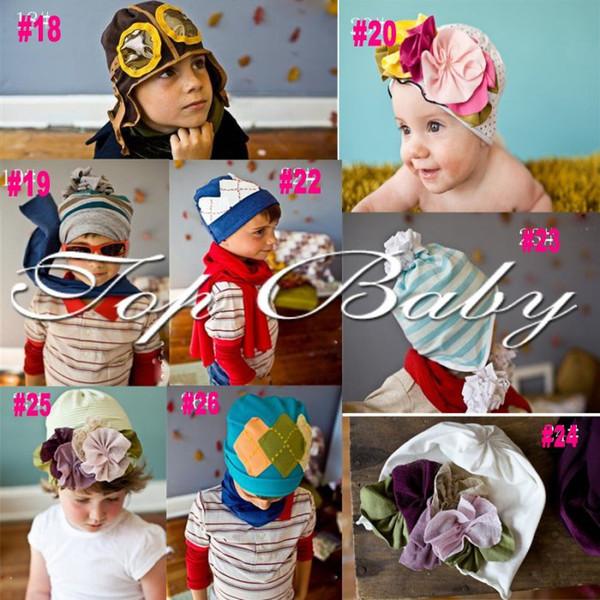 Date 25 conception top vente bébé bébé Bonnet bonnet / cap fleur meilleur coton livraison gratuite / 30pcs / lot