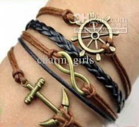30pcs/lot Fashion 5 style Charm bracelet Really cow leather bracelet Cheap jewelry