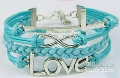 Free shipping 50pcs/lot Fashion 5 style Charm bracelet Mixed material Korean velvet wax line leather bracelet Cheap jewelry Beautiful Gift