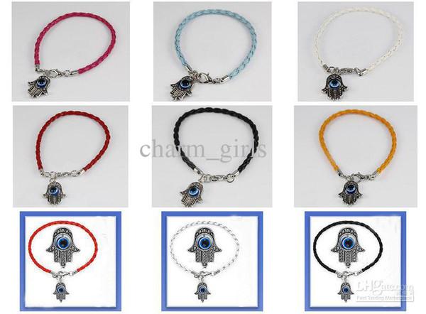 Оптовая продажа-20шт * Хамса Рука Фатимы сглаза религиозный браслет * выберите браслет дизайн