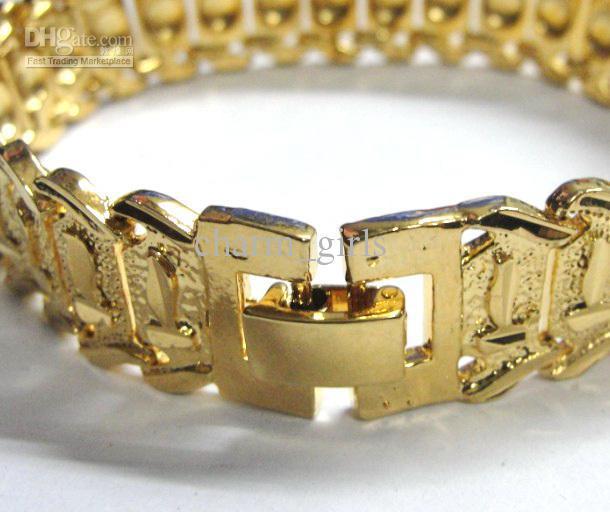 Brand new 40g MEN 24K YELLOW GOLD GEP SOLID FILL GP BRACELET Fashion Men Gold Bracelet 15mm * 8