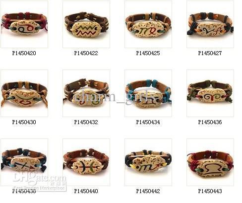 24pcs* 12 constellations Bracelet 100% genuine leather bracelet cow bone bracelet