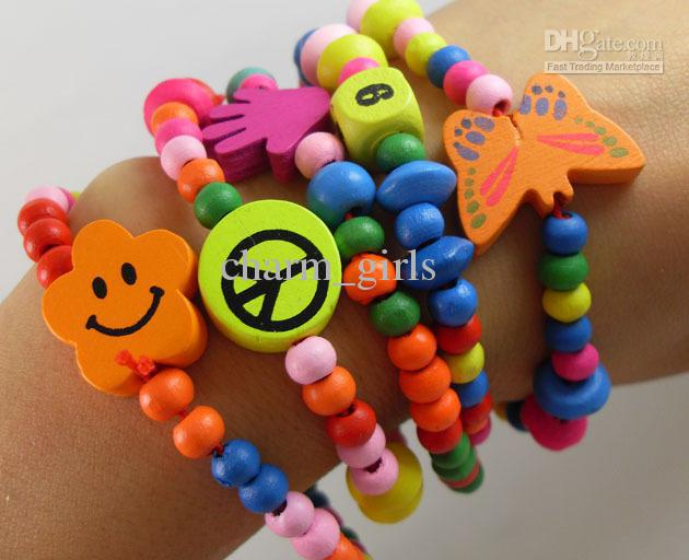 120pcs/lot Natural Wood Kids Children Bracelets Party gift favor Jewelry