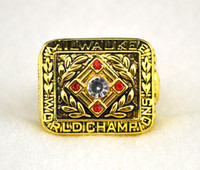 Wholesale Aaron Day - Free shipping replica 1957 Braves Baseball Championship Ring Hank Aaron Collectable Fan