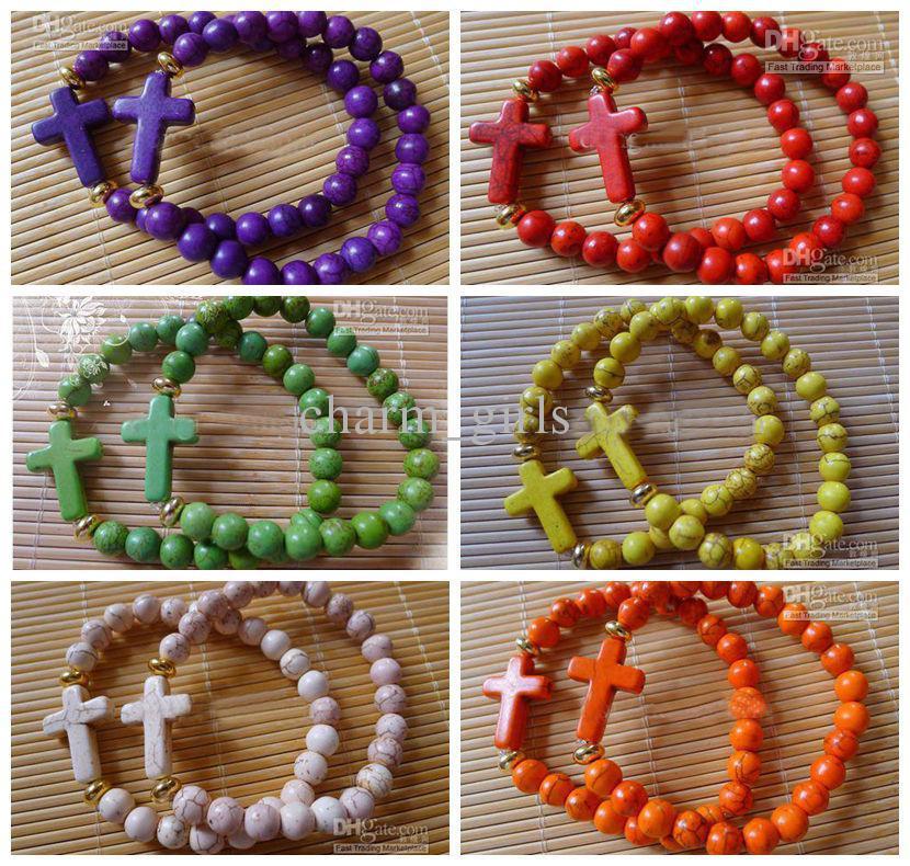 15pcs Charm Fashion Mix Color Turquoise Handmade Side Ways Sideways Cross Bracelet Jewelry Finding