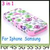 Colorful Bubble bubbles colors hybrid with logo hole case for iphone 5 5G 5S 4S Samsung Galaxy S3 S4 Silicon pc 3 in 1 back cover skin cases