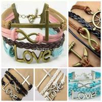 Wholesale Mixed Material Bracelet - Wholesale - Free shipping 50pcs lot Fashion 5 style Charm bracelet Mixed material Korean velvet wax line leather bracelet Cheap jewelry Beau