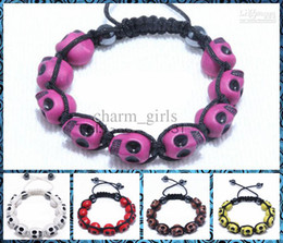 Wholesale Low Price Weave - Wholesale - Free shipping low price punk style skull Fimo Mixed colors Shamballa Bracelet hand-woven friendship bracelet 50pcs lot