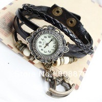 Wholesale Trojan Watches - Trojans Pendant Bracelet Watch for Women leather strap watch Green wooden bead belt decorated quartz fashion watch