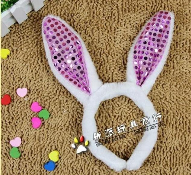 Fashion women girl Bunny Rabbit Fluffy Ear Headbands Plush Head Band Costume Festive Party Decorative Christmas Performing props colorful