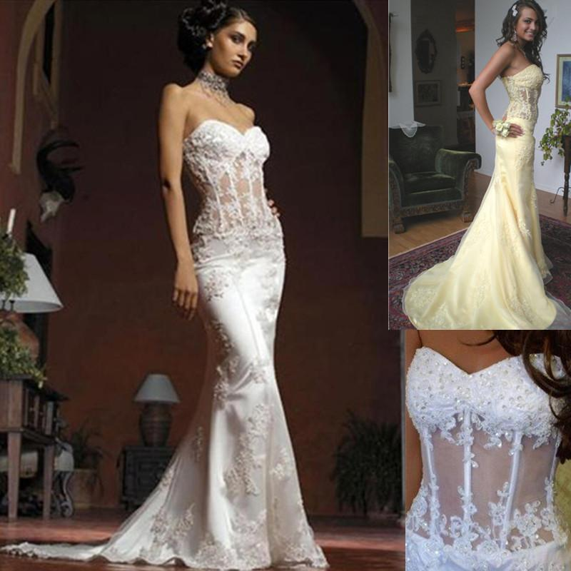 See Through Wedding Gown: Mermaid Wedding Dresses Strapless See Through Corset