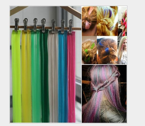 The high quality synthetic hair extension 20 bright solid colored the high quality synthetic hair extension 20 bright solid colored party highlights clip in double thickening hair extensions hair weave extension hair clips pmusecretfo Gallery